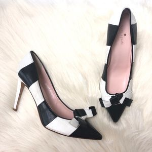 Kate Spade Black and White Striped Pumps